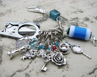 Knitter's Chatelaine: Alice in Wonderland- Stitch Markers, Row Counter & Folding Scissors on a Decorative Clasp