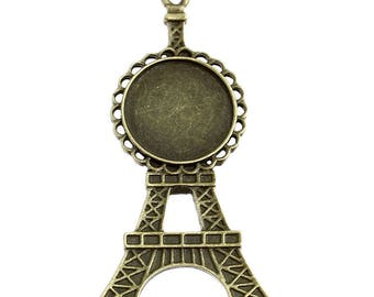 1 pendant cabochons 20mm color Eiffel Tower bronze
