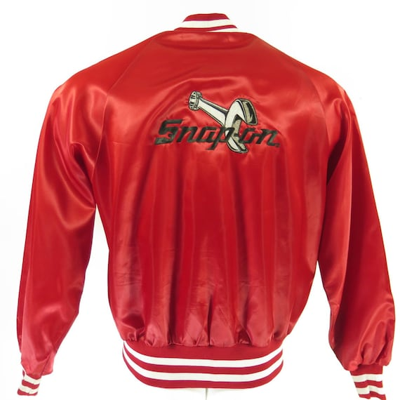 14 I10D Satin Jacket 80s Red Puffy L Deadstock Shiny Vintage Snap Mens Embroidered On 0 aOqq0P