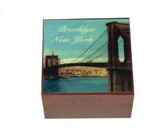 Brooklyn Keepsake Boxes, Brooklyn Bridge, Brooklyn Art, Memory Box, Brooklyn Souvenir, Brooklyn Art, keepsake box wood