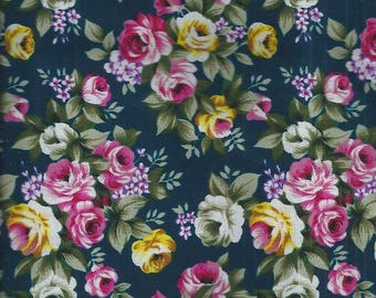 Cotton fabric with yellow, pink and ecru roses - 150x50 cm