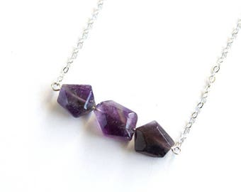 Amethyst Necklace Sterling Silver Chain Natural Stone February Birthstone Geometric Purple Necklace Amethyst Quartz Violet Necklace #18655