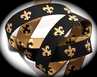 "Woven Ribbon in 5/8""  - Black and Gold Fleur De Lis Woven Ribbon"