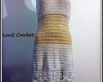 Crochet white chain dress