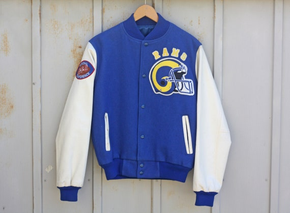 Bomber 80s Line Rams Chalk Jacket Angeles Los Jacket 1980s Vegan Jacket LA Jacket Jacket Letterman Vintage Rams Flight Football rYrZaOq0