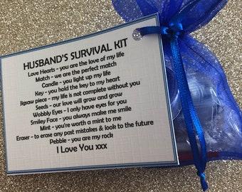 Husbands personalised survival kit, keepsake, novelty gift, wedding favour, gift fot him, thank you, Birthday gift
