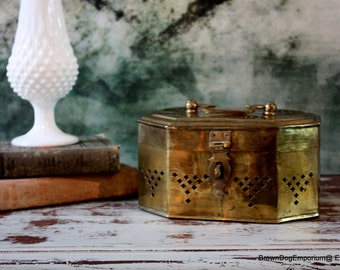 Large brass felted cricket box // Middle Eastern decor // vintage brass trinket box