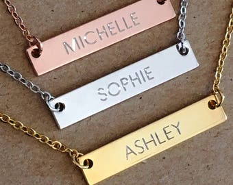 Name Bar Necklace, Nameplate Necklace, Rose Gold Silver Bar Necklace, Personalized Jewelry, Bridesmaid Gift, Custom Name Necklace, Gift mom