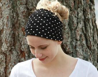 Headbands for Women / Headwraps for Women / Bandana Headbands / Polka Dot Headband / Black White Headband / Extra Wide Headband / Head Band