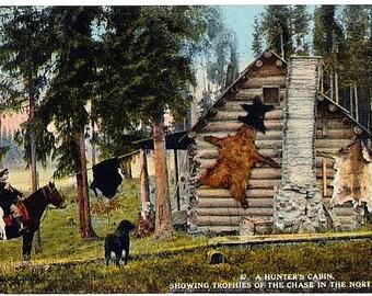Antique Washington State Postcard - A Hunter's Cabin (Unused)