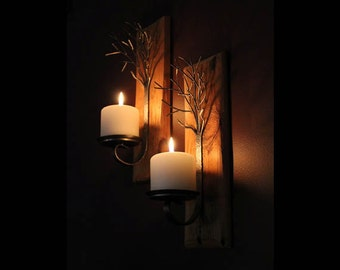 Pair of metal  tree sculpture candle wall sconces on reclaimed wood base
