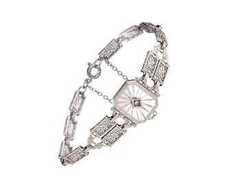 Art Deco 10k filigree bracelet with diamond & camphor glass