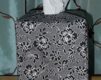 Ready To Ship - Black and White Flower - Tissue Box Cover