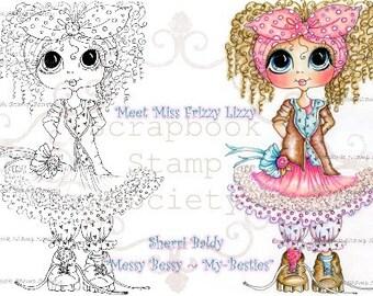 INSTANT DOWNLOAD Digital Digi Stamps Big Eye Big Head Dolls Messy Bessy My Besties Digi Miss Frizz Iizzy By Sherri Baldy