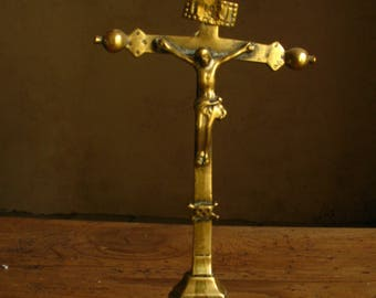Antique Brass Table Standing Crucifix 1800s