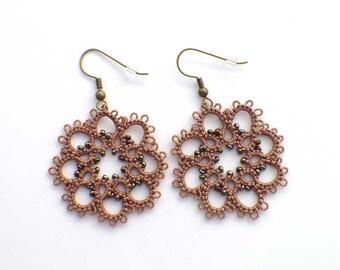 Mocha Brown Lace Earrings, Tatted lace earrings, Boho Lace Earrings, Tatting Jewelry, Mocha Boho Jewelry, Boho Earrings, Brown Lace Earrings