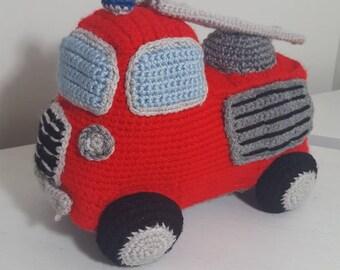 Crochet Fire Truck, Amigurumi Fire Truck, Fire Truck Toy, Fire Truck Plush, Firetruck
