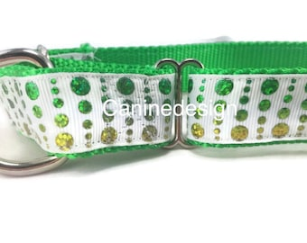 St. Patrick's Dog Collar, Green Glitter Dots, 1 inch wide, adjustable, quick release, metal buckle, chain, martingale, hybrid, nylon