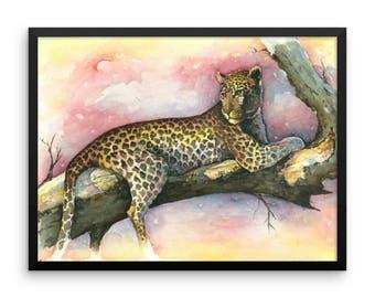 Framed - Artwork print - Leopard at Sunset