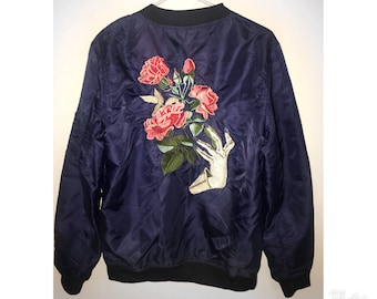 Reworked Upcycled Rose Embroidered Deep Blue Bomber Jacket