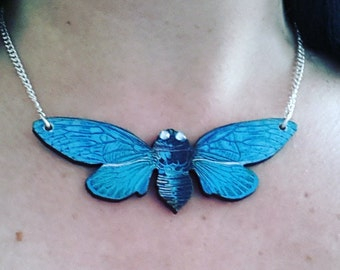 Huge, JUMBO, Cicada, moth, wooden, wood, feature necklace,Blue, necklace,short necklace, by NewellsJewels on etsy