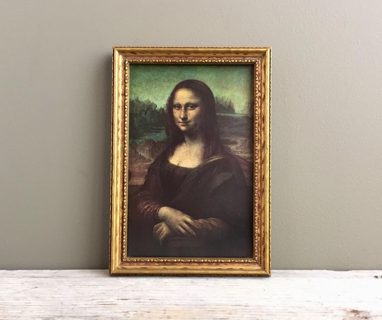 Vintage mona lisa print with wood gilded frame vintage wood zoom jeuxipadfo Gallery