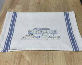 Happy Camper (Pop Up Trailer) Blue Version Tea Towel | Embroidered Tea Towel | Kitchen Towel | Embroidered Towel | Hand Towel | Dish Towel