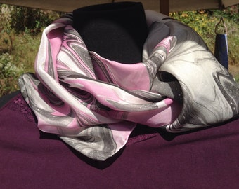 Hand Painted silk scarf. Purple, black and white silk marbled scarf.