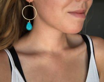 Gold hoop gemstone earrings, Turquoise drop earrings, Turquoise earrings, Gold hoop earrings, Blue earrings, December birthstone jewelry