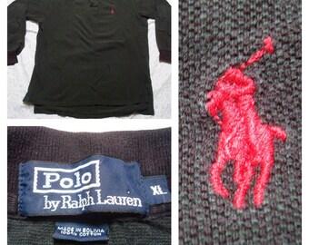 Vintage Retro Men's Polo Ralph Lauren Long Sleeve Pique Black Polo Shirt XL