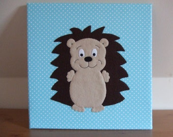 Nursery Canvas, Hedgehog Nursery Wall Art,Hedgehog Nursery Pictures,Hedgehog Nursery Decor,Hedgehog Bedroom Decor,Handmade Hedgehog Pictures