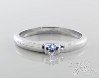 White Gold Diamond Ring 18K Solid Gold Ring Diamond Engagement Ring Unique Diamond Ring Unusual Engagement Ring Delicate White Gold Ring