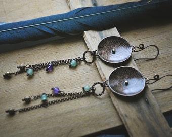Etched copper earrings, Rustic earrings, Copper metal smith earrings, Flower pattern earrings, Ethnic earrings, Long Earrings, Jade Amethyst