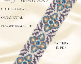 Peyote Pattern for bracelet - Gothic flower ornamental peyote bracelet pattern PDF instant download