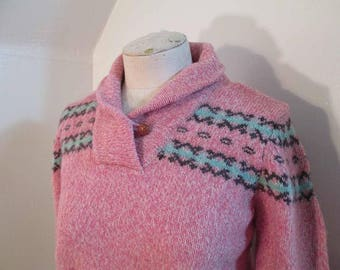 Pink Tweed Sweater Vintage Shawl collar Woolrich Pullover 80s Pink and Blue Fair Isle wool Sweater Winter wool pullover M