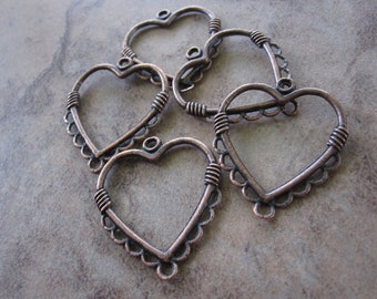 5 Drops, Antiqued copper pewter, 26x26mm heart, 9 loops.JD140