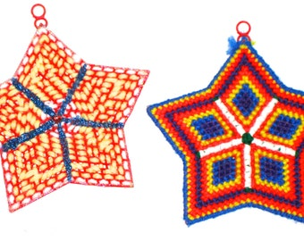 2 vintage handmade yarn Christmas ornaments stars decorations