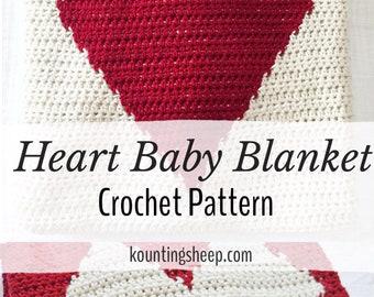 Heart Blanket Crochet Pattern PDF digital Graph and written instructions baby blanket pattern instant download