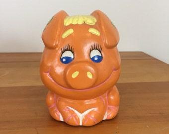 70s Handpainted Hippie Orange Piggy Bank