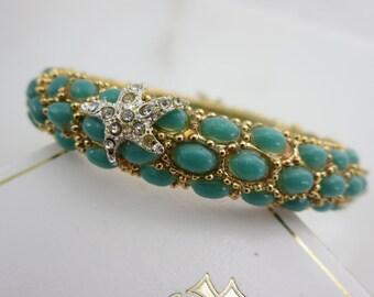 Starfish Bracelet -  Clamper Bangle, Costume Jewelry, Turquoise Blue Stones Chunky, Beach Jewelry