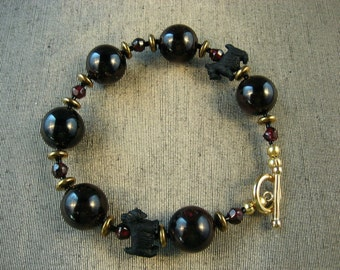 Genuine Garnet OOAK Scottie Bracelet - B-74s