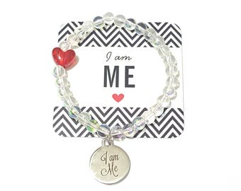 I am Me Bracelet,Inspirational, Be You, Girl Power, Empowering Women, Beaded, Charm, Girls, Womens, Custom Handmade Beaded Jewelry