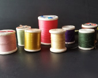 Lot of 8 Colorful Vintage Thread On Styrofoam Spools Assorted Brands