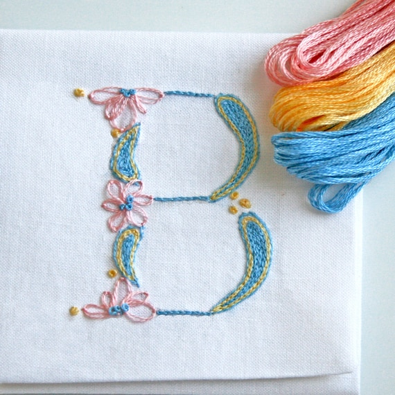 Diy pdf crewel embroidery pattern monogram b is for baby