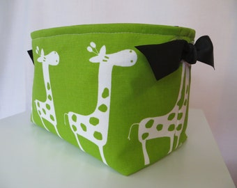 Fabric Organizer Storage Bin Container Basket Chartreuse and White Giraffes with clear grommets for handles 10 x 5.5 x 6