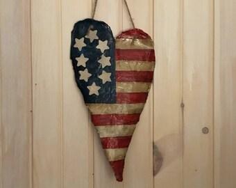 Primitive Style Heart Flag