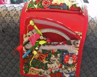 Holiday Cats Armchair Sewing Caddy, Hand Sewing Organizer