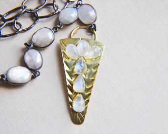 Moonstone Necklace, Y Necklace, Long Necklace, Layering Necklace, Silver Necklace, Gold Necklace, Statement Necklace, Arrowhead necklace