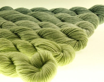 Mini Skeins Fingering or DK Gradient Yarn Ombre Dyed - Forest Sprouts - 660 yards