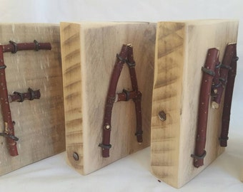 Wood and twig block letters - FAMILY